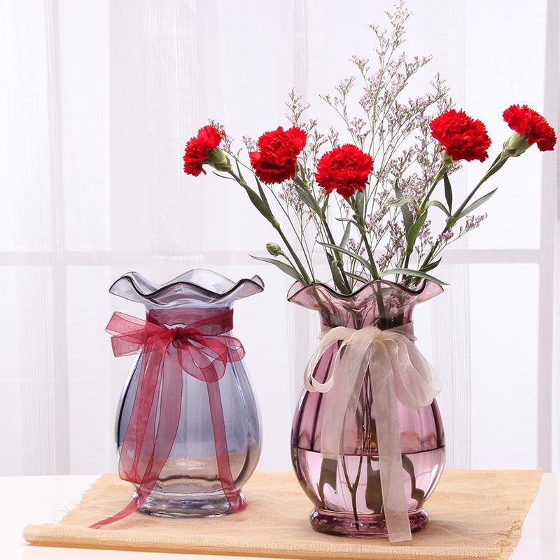 欧式彩色玻璃花瓶透明客厅大号插花水培百合花瓶摆件干花