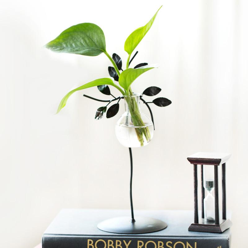 铁艺插花透明绿萝水培植物玻璃瓶创意花器小清新花瓶餐桌装饰摆件图片