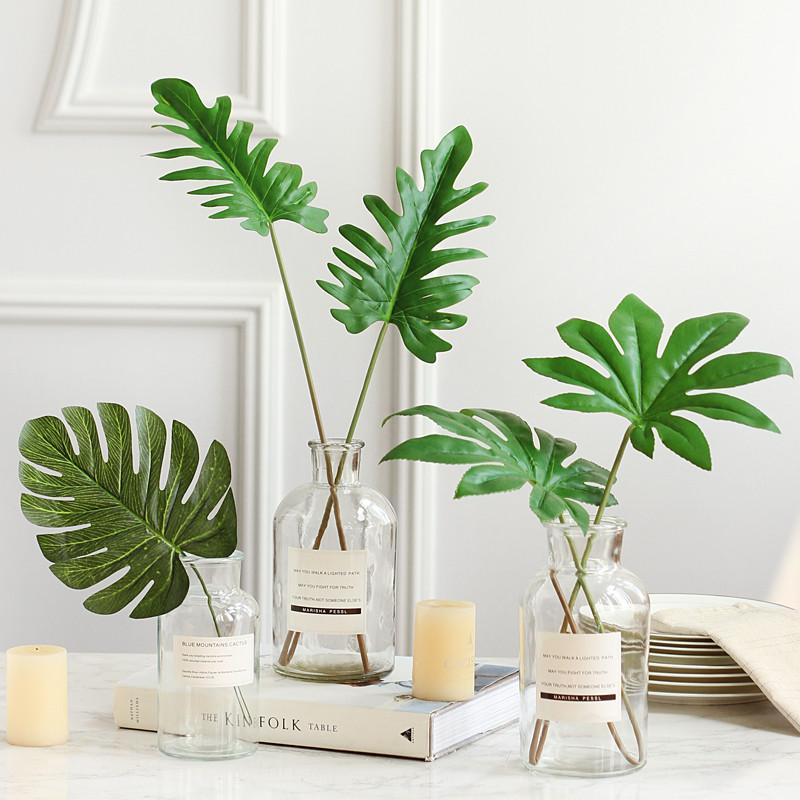 小清新北欧风透明水培玻璃花瓶绿植绿叶餐桌客厅摆设美式摆件图片