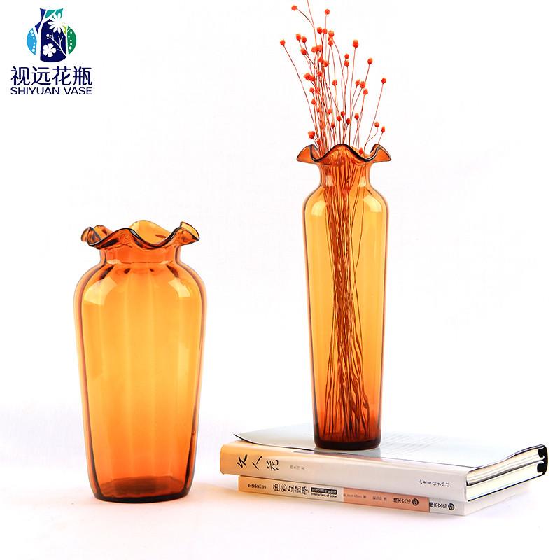 荷叶边美人瓶彩色玻璃花瓶客厅餐桌装饰摆件现代家居干花创意花器