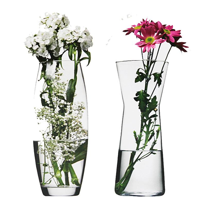 欧式透明玻璃花瓶简约富贵竹玫瑰客厅桌面干花插花瓶大号文艺