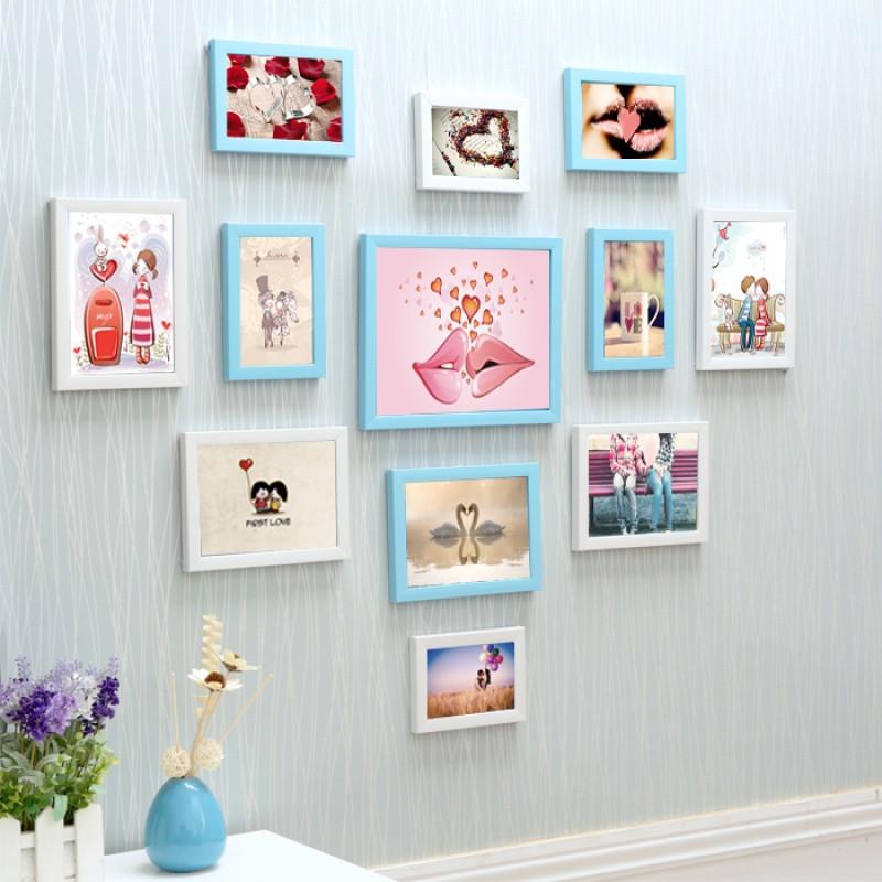 12框心形照片墙/相框挂墙组合相片墙 创意家居送画芯