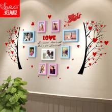 9框欧式卧室床头装饰挂墙创意7寸实木照片墙相框墙贴组合diy墙框