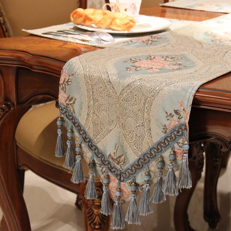 歐式桌旗床尾巾家用餐桌客廳裝飾桌布茶幾布電視柜長條布