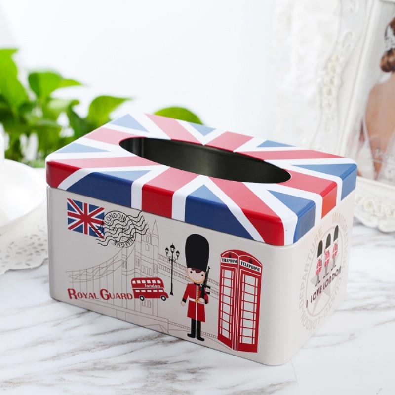 创意纸巾盒家用铁盒子客厅车用可爱纸抽盒 欧式收纳盒餐巾抽纸盒