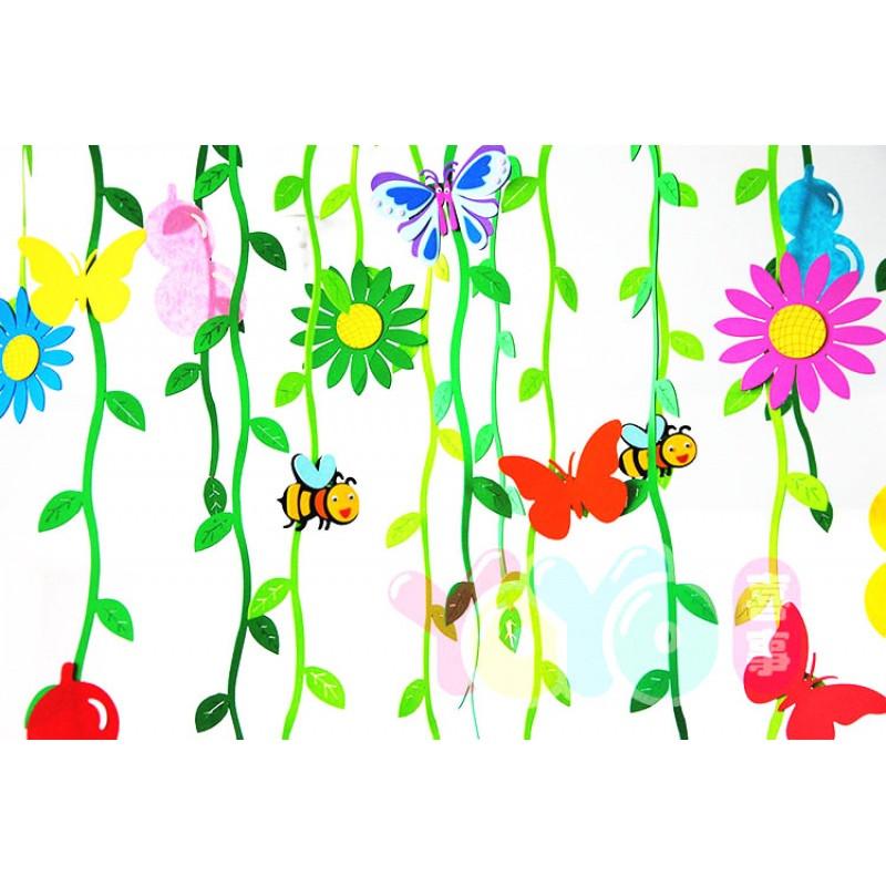 幼儿园墙面装饰教室走廊空中吊饰柳条挂饰吊顶布置泡沫材质