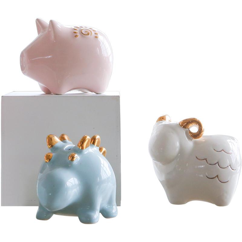北欧创意可爱动物储蓄罐卡通儿童存钱罐家居装饰摆