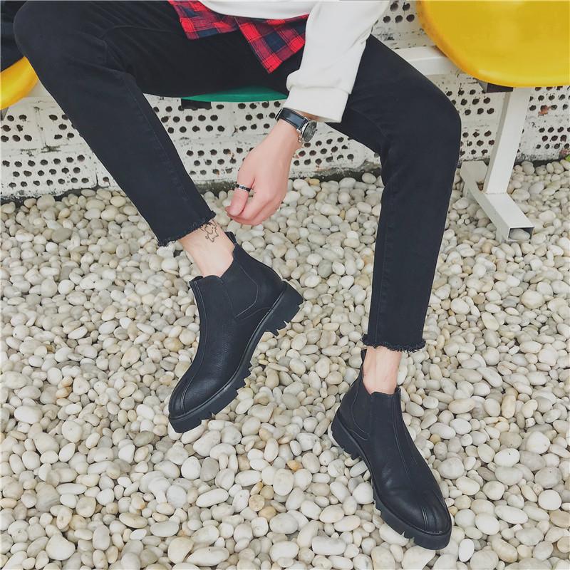 切尔西靴男鞋春季尖头短靴高帮休闲皮鞋英伦中帮一脚蹬马丁靴男潮