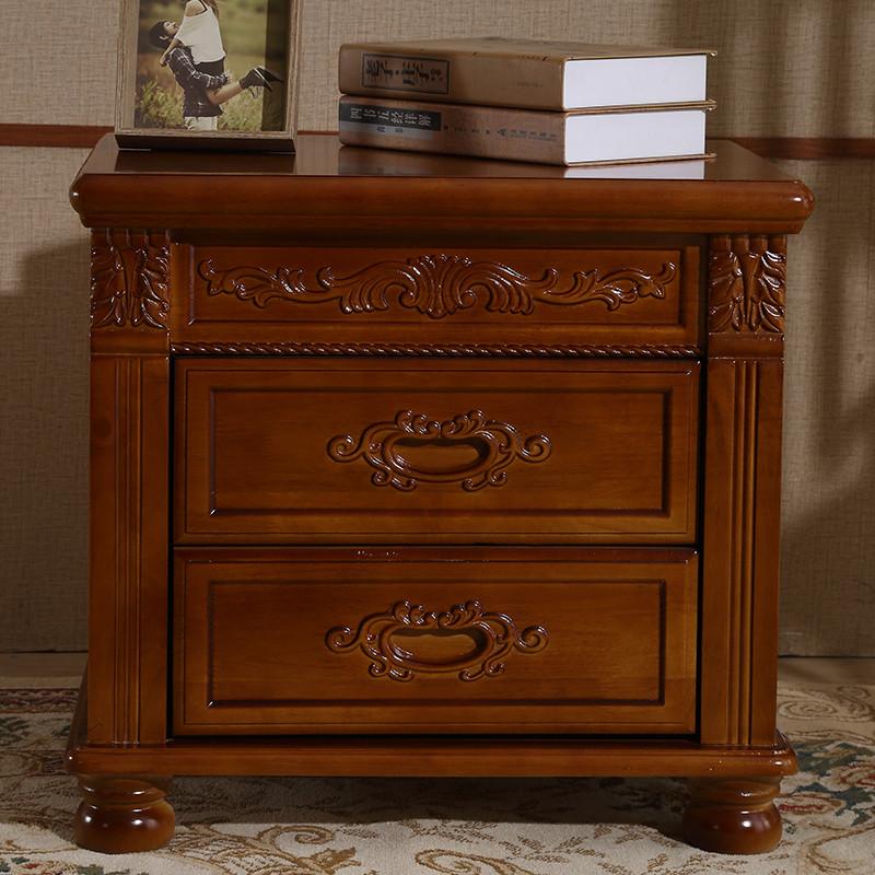 现代中式仿古雕花床头柜实木整装储物柜胡桃海棠色橡木收纳柜