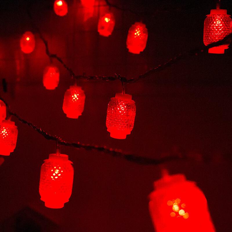 红灯笼福字灯串led彩灯过年新年喜气新房婚礼婚房间布置装饰图片