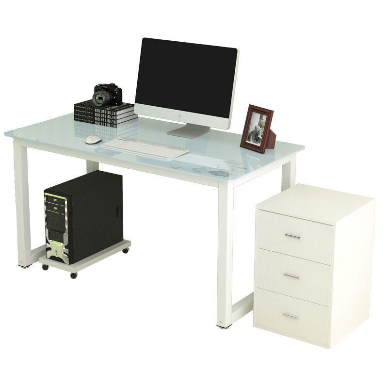 简约现代钢化玻璃电脑桌台式家用办公桌 简易学习书桌写字台组装