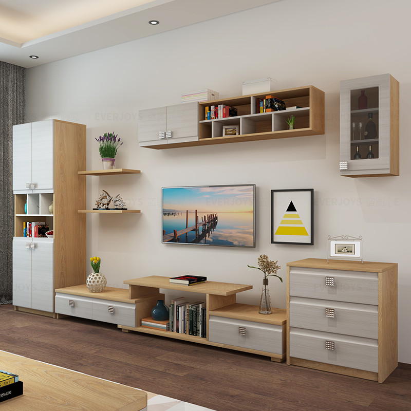 北欧现代简约电视背景柜电视墙柜伸缩大户型电视柜组合柜茶几组合