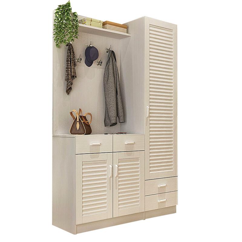 现代简约百叶门厅柜鞋柜挂衣架客厅隔断玄关柜储物柜衣帽柜穿衣镜