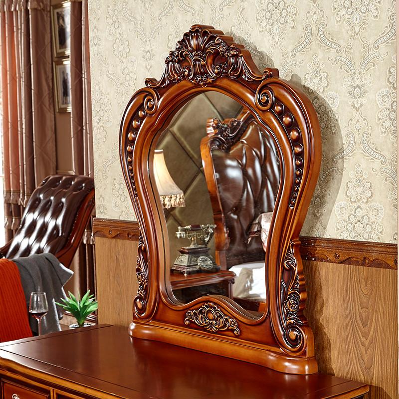 欧式梳妆台卧室化妆桌欧式风格实木橡木雕花带镜带凳梳妆桌