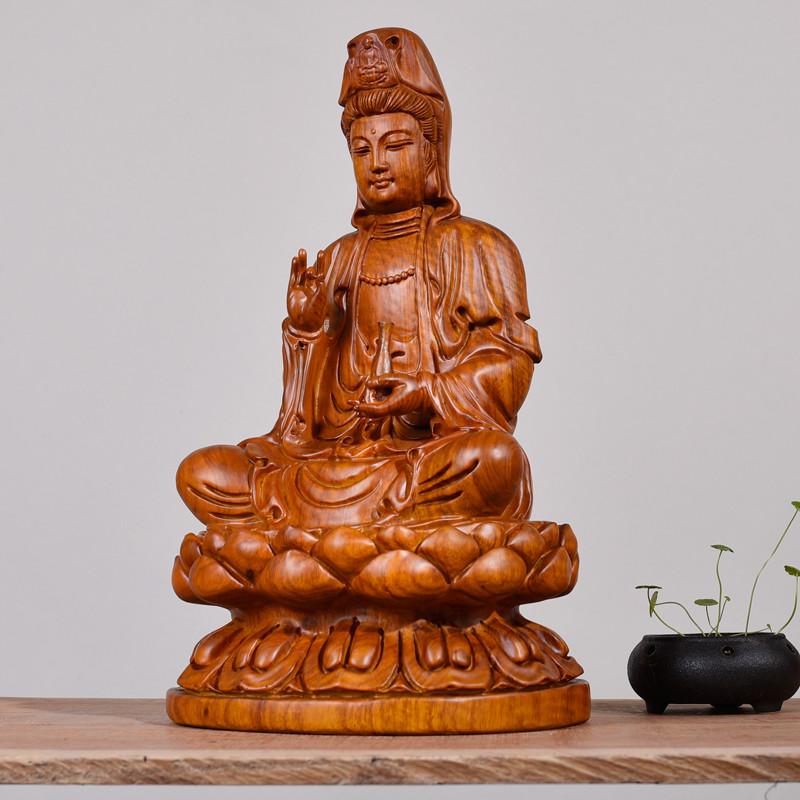 木雕观音佛像摆件供奉雕像雕刻镇宅辟邪家具红木工艺品