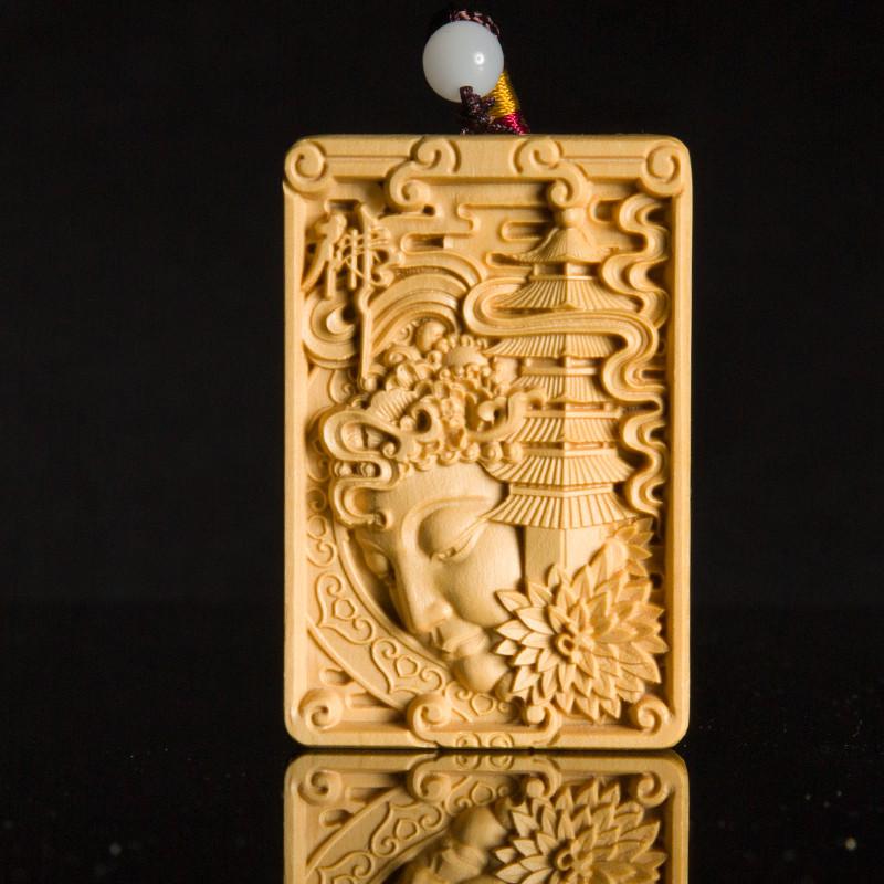 小叶黄杨木雕刻无事牌文玩手把件汽车挂件关公观音人物收藏工艺品
