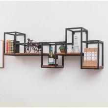 铁艺墙上装饰置物架客厅创意格子书架花架餐厅墙壁收纳隔板酒柜架图片