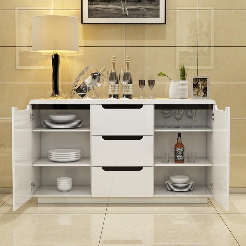 現代簡約餐邊柜儲物柜茶水柜烤漆多功能白色碗柜廚房酒柜組裝