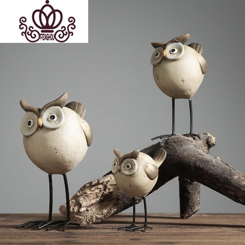 创意复古怀旧陶瓷猫头鹰摆件动物玄关客厅样板房卧室家居软装饰品