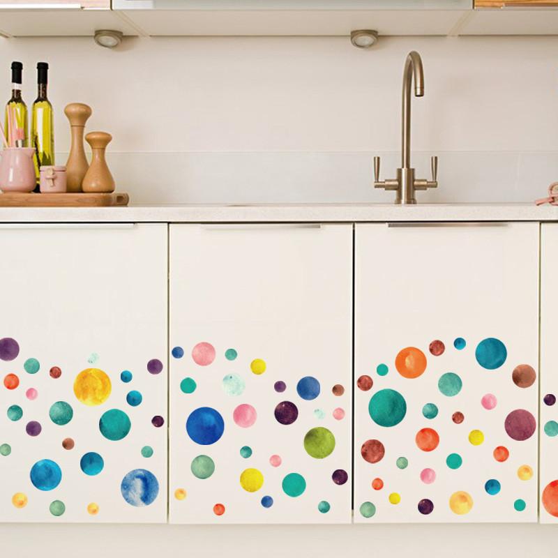 彩色星星圆圈星球贴纸幼儿园班级教室墙壁布置装饰小贴儿童房墙贴