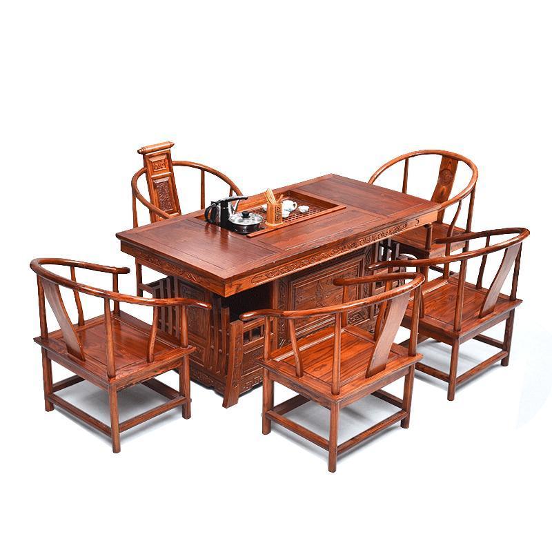 实木茶桌椅组合 功夫茶几办公室茶桌茶台中式客厅泡茶桌榆木