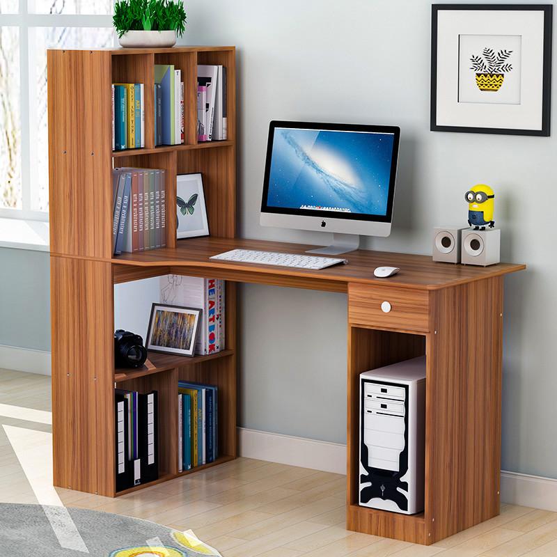 台式家用电脑桌书桌书架组合简约现代书桌办公桌简易写字桌子卧室