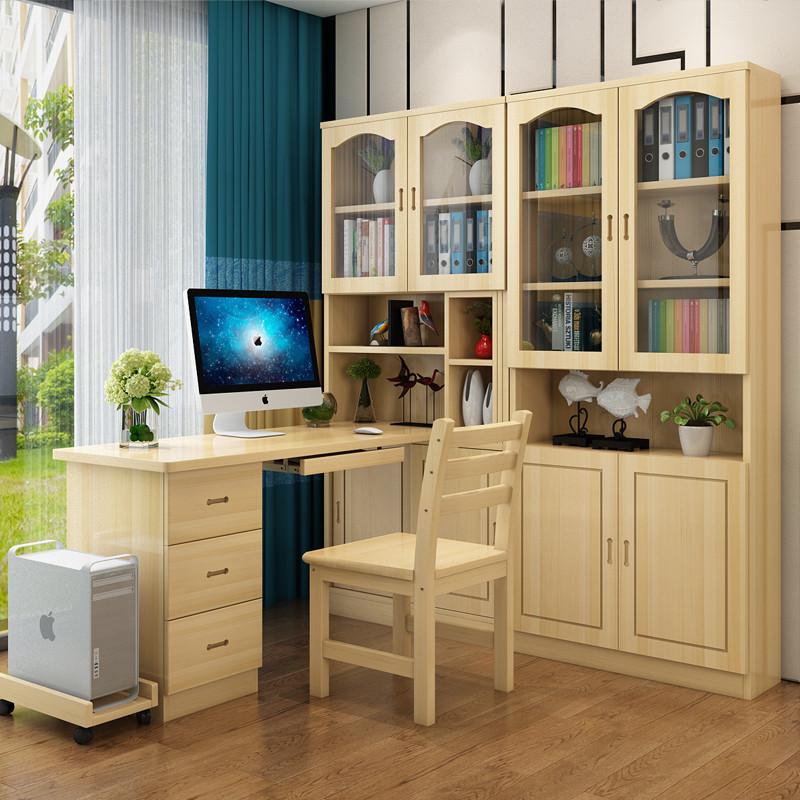 转角电脑桌带书架_实木书桌书架组合简约家用松木儿童学习桌实木转角电脑桌带书架