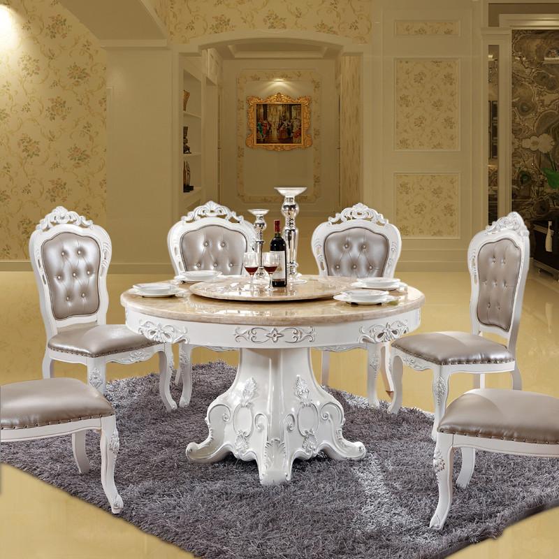 欧式大理石圆桌带转盘 实木餐桌椅组合6人现代简约客厅小户型餐桌