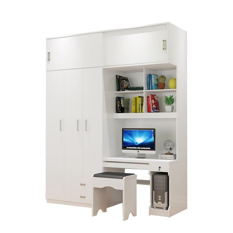 简约时尚台式电脑桌书架书柜组合家用写字台带衣柜学生书桌一体柜