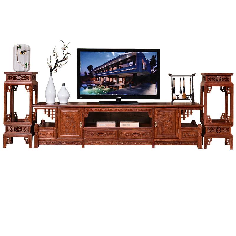 实木红木电视柜客厅新中式花梨木原木刺猬紫檀家具偏红色酸枝木色