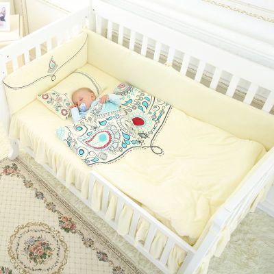 龍之涵【LONGZHIHAN】 嬰兒床上用品套件全棉寶寶床圍純手工棉花寶寶床床單被罩枕頭7件套 105*60cm