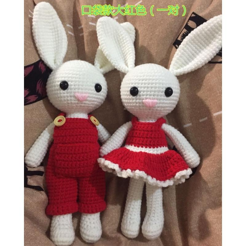2只长耳兔子 钩针毛线玩偶材料包 钩编手工diy娃娃 不