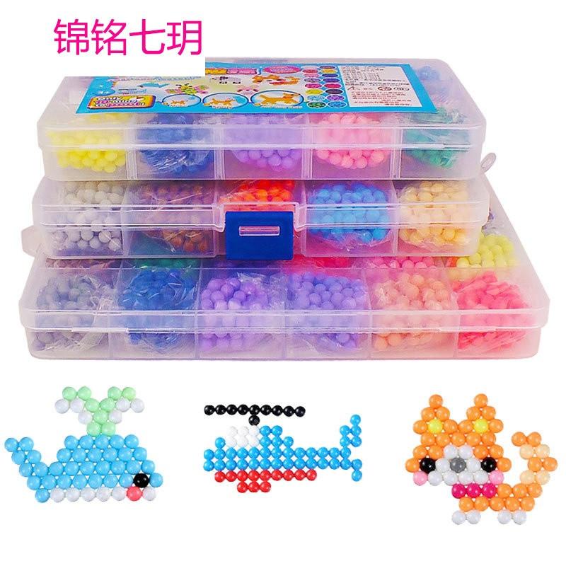 锦铭七玥水雾魔粒珠儿童创意手动制作diy玩具 水露魔珠神奇水粘珠拼珠