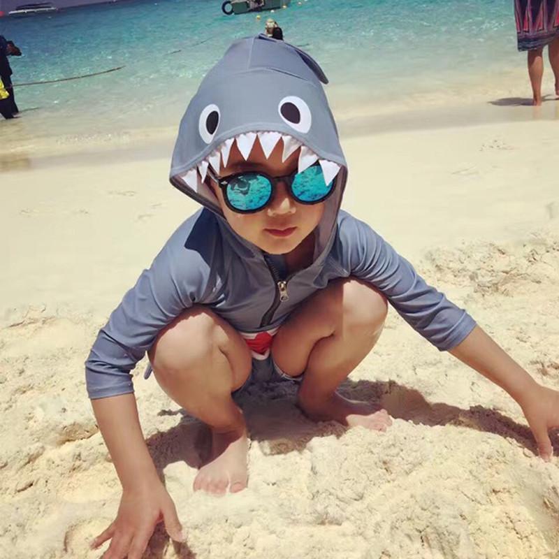 连体鲨鱼儿童泳衣可爱卡通男女童小中童宝宝平角游泳衣