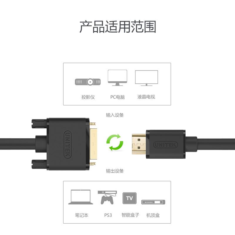 hdmi转dvi线电脑电视机高清线显示器hdmi线ps4转接头转换线