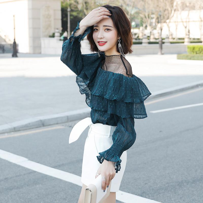 雪纺衫�z(���-�i#�(�_小心机露肩衬衫上衣2018春装新款韩版潮雪纺衫衬衣洋气设计感小衫
