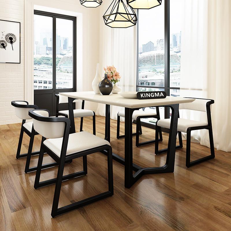 里伍大理石餐桌椅组合 北欧客厅家具水曲柳小户型实木