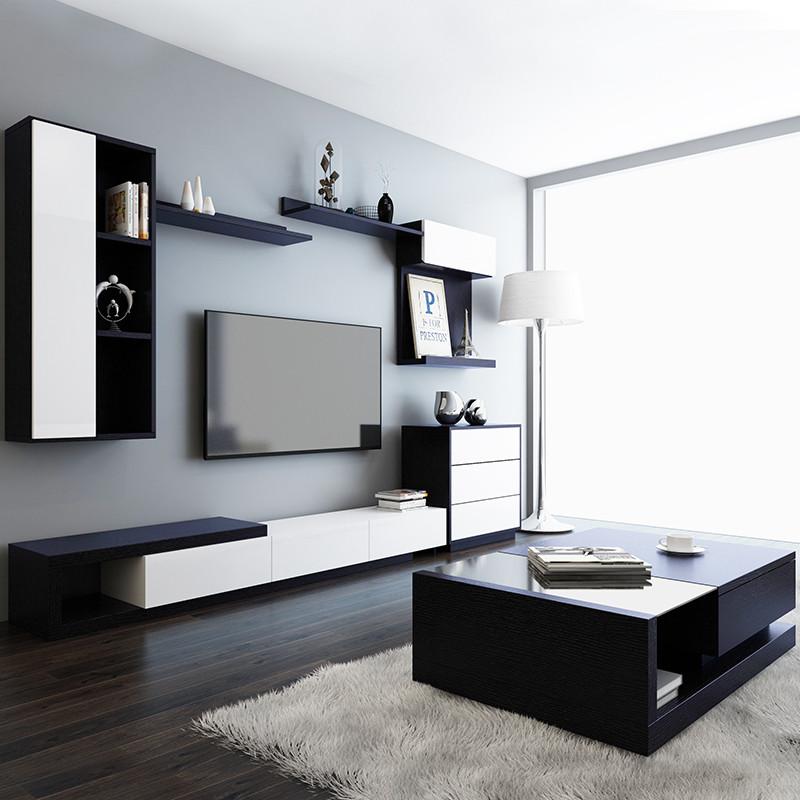 里伍北欧电视柜茶几组合简约现代大小户型客厅烤漆家具伸缩电视柜墙柜