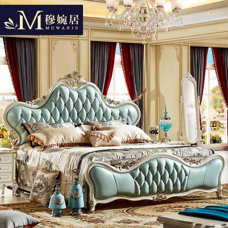 里伍欧式床主卧双人床真皮实木雕花床1.8米1.5米法式婚床图片