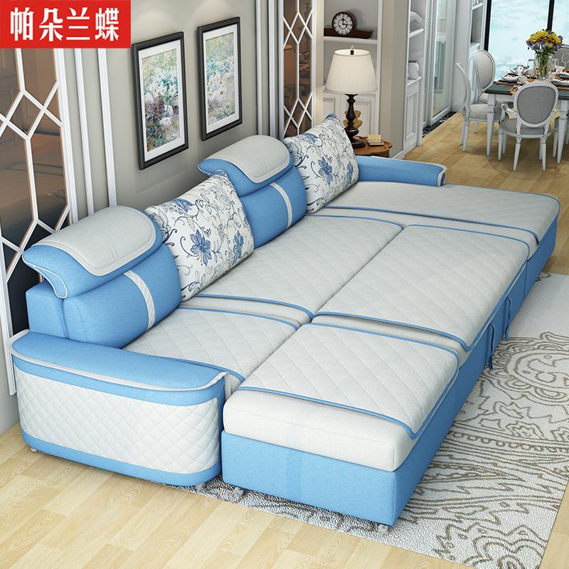 里伍多功能沙发床两用布艺转角可拆洗小户型现代简约折叠沙发图片