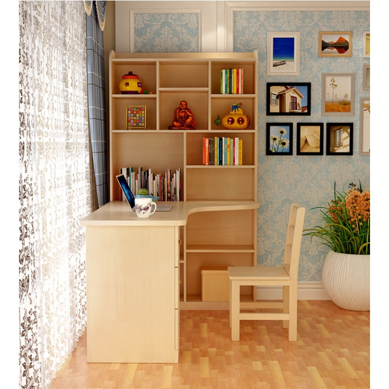 里伍实木转角电脑桌简约书桌书架组合卧室儿童学习桌写字桌办公桌家用