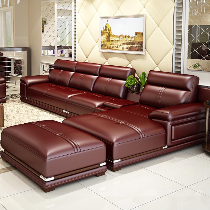 客厅北欧式新中式现代简约田远大小户型实木宜家头层牛皮沙发皮艺沙发图片