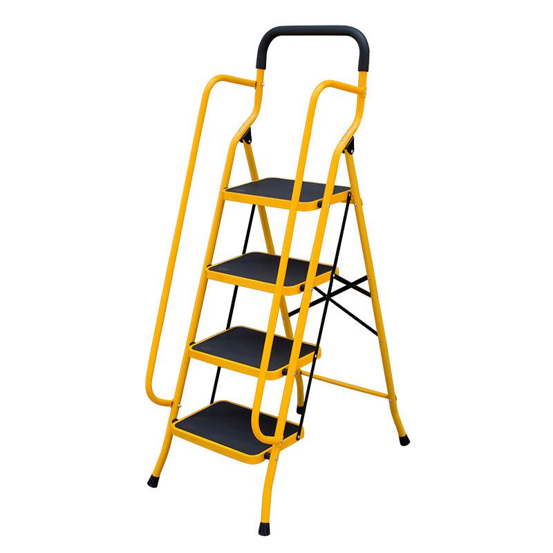 梯子家用折叠伸缩梯扶手四步五步梯加厚宽踏板人字梯阁楼梯