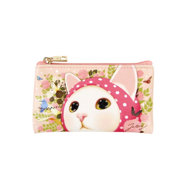 现货韩国创意可爱卡通猫咪女式pu卡包零钱包小药包耳机线包