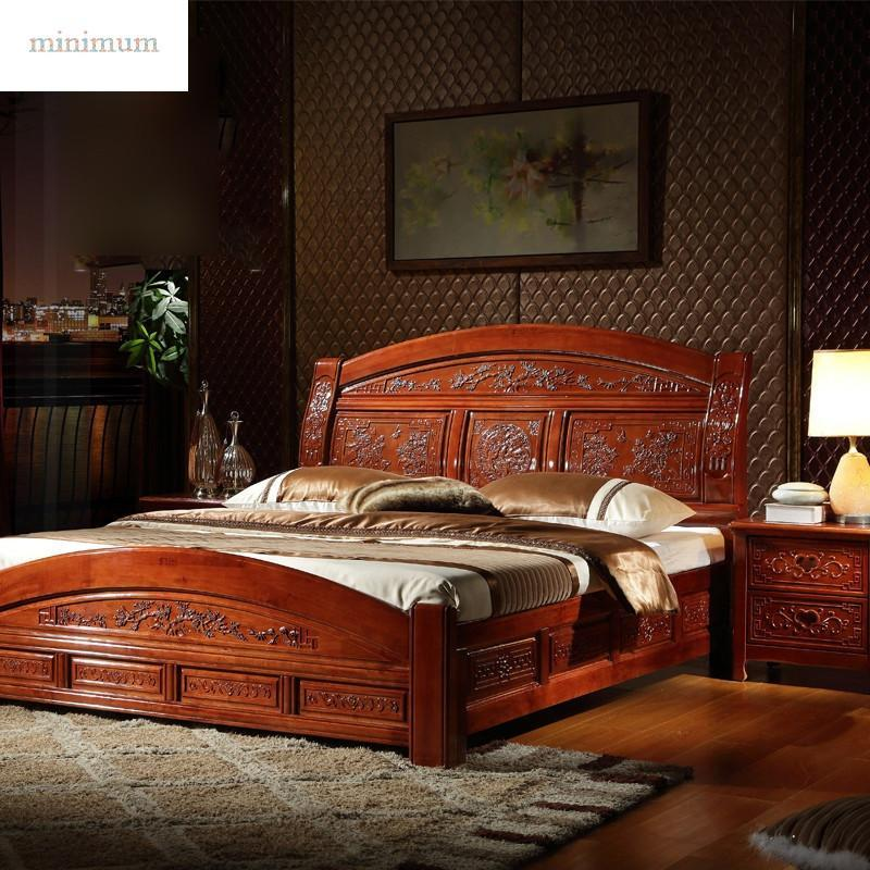 明清雕花仿古实木床橡木床1.8m 双人床纯中式卧室家具