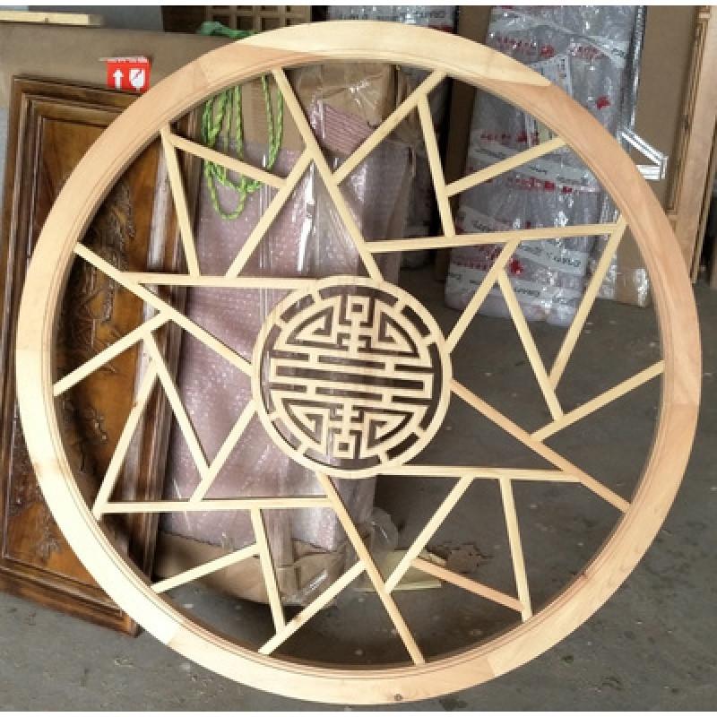 东阳木雕中式实木月洞门隔断玄关仿古雕花门客厅拱形实木花格门窗