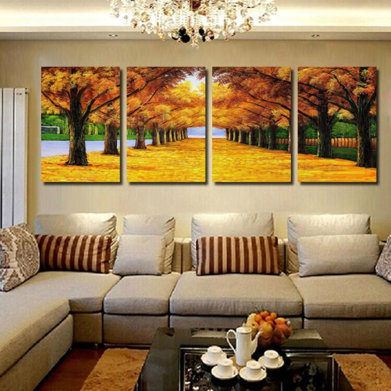 客厅装饰画无框画沙发背景墙四联壁画挂画书房风景山水画