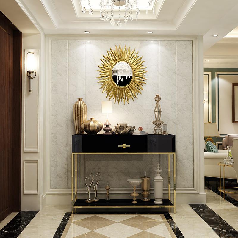 现代简约玄关柜设计师后现代玄关桌客厅边桌香槟金不锈钢间厅柜台图片