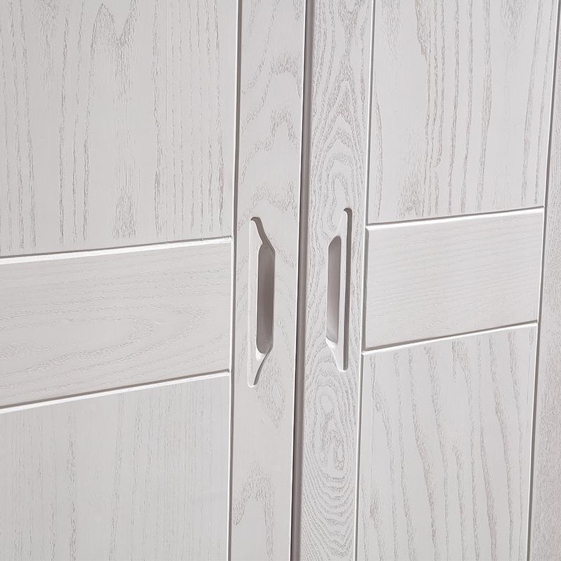 全实木衣柜简约现代中式4/5门主卧室大衣柜水曲柳白色开放漆衣橱
