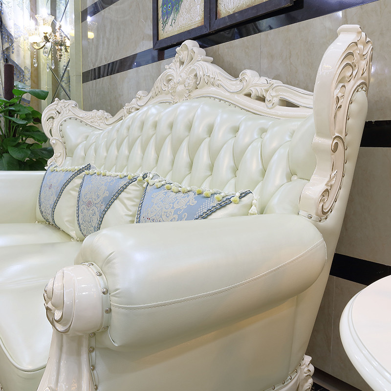欧式客厅实木雕花真皮沙发123组合头层牛皮珍珠白hy610